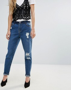 Рваные джинсы бойфренда First & I - Синий