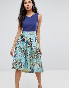Расклешенная юбка с цветочным принтом Closet London - Мульти