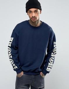 Oversize-свитер с принтом на рукавах HNR LDN - Темно-синий Honour