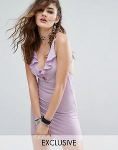 Облегающее платье мини с халтером, глубоким V-образным вырезом, шнуровкой и оборкой Motel - Фиолетовый