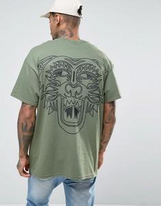 Oversize-футболка с тигром на спине HNR LDN - Зеленый Honour