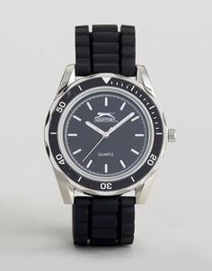 Черно-серебристые часы с силиконовым ремешком Slazenger - Черный