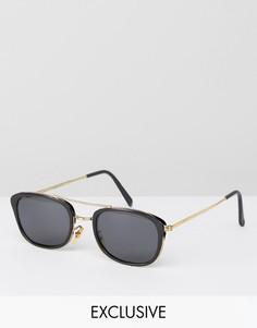 Квадратные черные очки-авиаторы Reclaimed Vintage эксклюзивно для ASOS - Черный