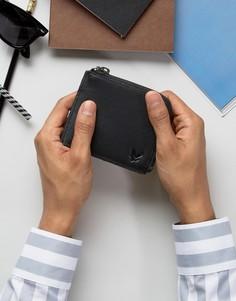 Кожаный бумажник с молнией Lyle & Scott - Черный