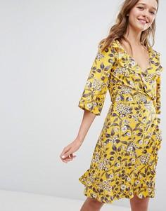 Платье с запахом, оборками и цветочным принтом Monki - Желтый