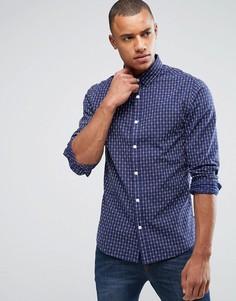 Узкая жаккардовая рубашка Only & Sons - Темно-синий