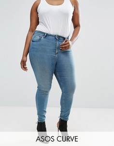 Голубые джинсы скинни ASOS CURVE RIDLEY - Синий