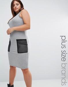 Облегающее платье в рубчик с сетчатыми карманами One One Three - Серый