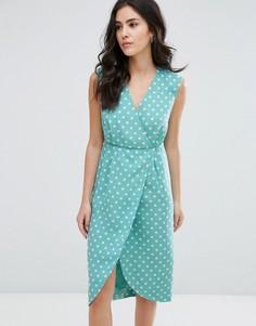 Фактурное платье миди с запахом Darling - Синий