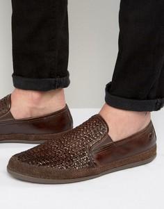 Плетеные кожаные туфли Base London Stage - Коричневый