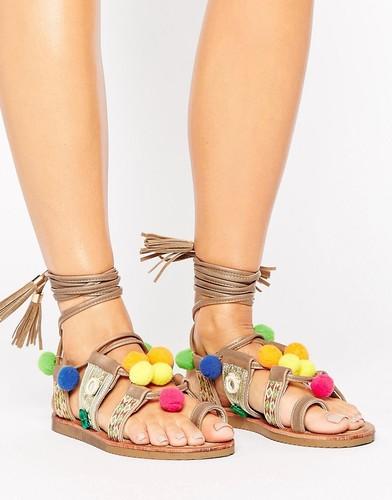 Сандалии с завязками и помпонами Glamorous - Мульти