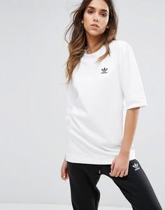 Белая футболка бойфренда adidas Originals - Белый
