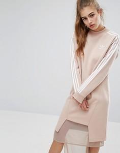 Трикотажное платье платье с тремя полосками и асимметричным подолом adidas Originals - Розовый