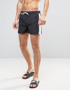 Короткие шорты для плавания со вставкой по бокам Bravesoul - Черный