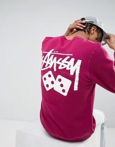 Свитшот с принтом на спине Stussy - Розовый