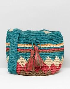 Соломенная сумка с разноцветным принтом Hat Attack - Мульти