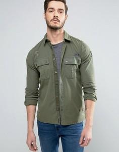 Рубашка навыпуск в стиле милитари с вышивкой Sisley - Зеленый
