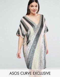Цельнокройное платье с пайетками и V-образным вырезом сзади ASOS CURVE - Мульти