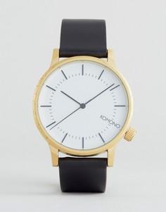 Золотистые часы с черным кожаным ремешком Komono Winston Regal - Черный