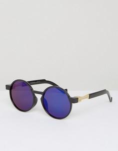 Круглые солнцезащитные очки с синими стеклами 7X - Черный