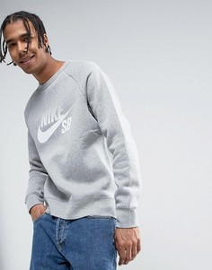 Серый свитшот с круглым вырезом Nike SB 888854-063 - Серый