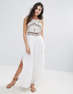 Платье макси с декоративной отделкой Glamorous - Белый