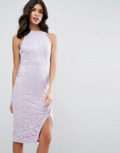 Кружевное платье миди с высокой горловиной и запахом на юбке ASOS - Фиолетовый