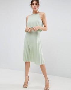 Плиссированное платье миди с укороченным топом ASOS - Зеленый