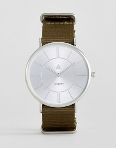 Часы с парусиновым ремешком хаки ASOS - Зеленый