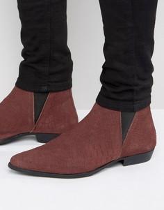 Замшевые бордовые ботинки челси с отделкой под змеиную кожу ASOS - Красный