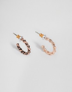Серьги-кольца с фактурной отделкой под розовое золото и медь ASOS - Мульти
