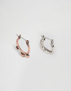 Серьги-кольца серебристого и бронзового оттенка ASOS - Серебряный