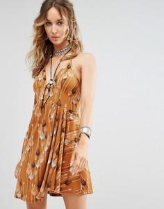 Платье с принтом Free People Tropical Daydream - Синий