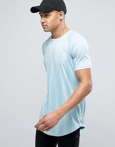 Голубая футболка с полосками и асимметричным краем SikSilk - Синий