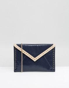 Клатч-конверт в стиле колор блок с заклепками Carvela - Темно-синий