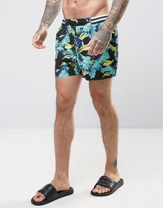 Короткие шорты для плавания с поясом в полоску и цветочным принтом ASOS - Мульти