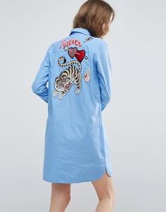 Полосатое платье-рубашка с вышивкой ASOS - Мульти