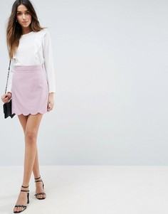 Мини юбка‑трапеция с фигурным краем ASOS Tailored - Фиолетовый