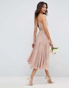 Декорированное платье миди на бретельках ASOS WEDDING - Бежевый