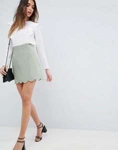 Мини юбка‑трапеция с фигурным краем ASOS Tailored - Зеленый