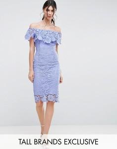 Кружевное платье-футляр с оборками и вырезом лодочкой Paper Dolls Tall - Синий
