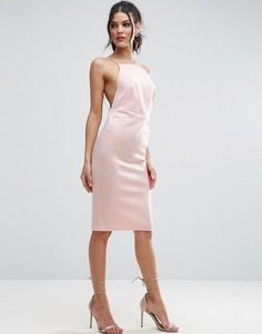 Облегающее платье миди с высоким воротом и бретельками ASOS - Розовый