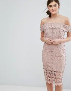 Платье с прорезным кружевом и открытыми плечами New Look - Серый