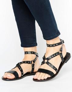 Кожаные сандалии с ремешками и заклепками Park Lane - Черный