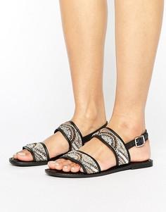 Кожаные сандалии с бисером Park Lane - Черный