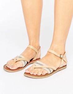 Светло-коричневые кожаные сандалии TOMS Lexie - Рыжий