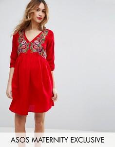 Платье миди с вышивкой ASOS Maternity - Красный