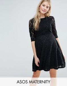 Кружевное приталенное платье ASOS Maternity - Черный