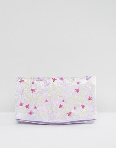 Бархатный клатч с вышивкой ASOS - Фиолетовый