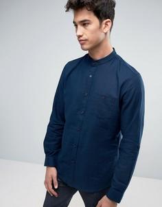 Рубашка с воротом на пуговице из хлопка и льна Threadbare - Темно-синий